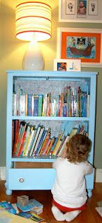 convert an old dresser to a bookshelf