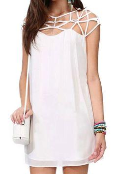 abaday Cut-out Upper Sleeveless White Smock Dress - Fashion Clothing, Latest Street Fashion At Abaday.com