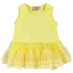 Monnalisa Light yellow dress with tulle flounces Amarillo - 31531   Melijoe.com