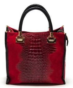 Another great find on #zulily! Rosso Croc-Embossed Leather Tote by Carla Ferreri #zulilyfinds
