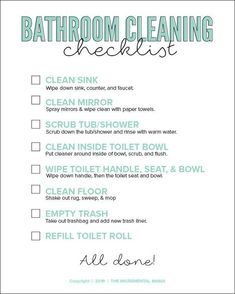 Free printable bathroom cleaning checklist for kids! Plus tips to get your kids to clean the bathroom. Tips Bedroom Bathroom Cleaning Checklist for Kids - The Incremental Mama Bathroom Cleaning Checklist, Room Cleaning Tips, Diy Cleaning Products, Cleaning Wipes, Cleaning Supplies, Bedroom Cleaning, Cleaning Routines, Spring Cleaning Checklist, Cleaning Schedules