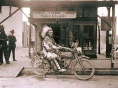 Indian on a Indian Motorcylce,1910s