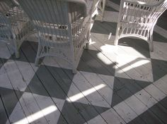 Our deck with a painted rug, easy to do with masking tape!