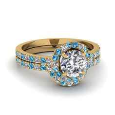 yellow-gold-round-white-diamond-engagement-wedding-ring-with-ice-blue-topaz-in-pave-set-FDENS3265ROGICBLTO-NL-YG #jewelry #rings