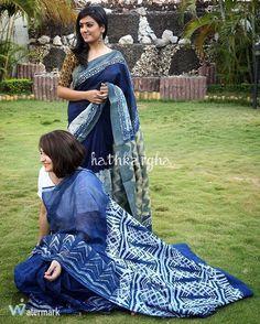 Indigo saris!! Indian Attire, Indian Wear, Indian Outfits, Blouse Styles, Blouse Designs, Indigo Saree, Ethnic Sarees, Sari Blouse, Half Saree