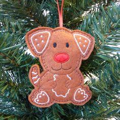 Gingerbread dog Christmas decoration, felt. £3.25