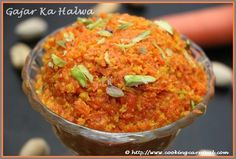 Gajar Ka Halwa, sometimes known as Gajrela, Carrot Halwa or Gajar ka Gajarela, is a sweet dessert pudding associated mainly with the state of Punjab in India. It is made by placing grated carrot in a pot containing specific amount of water or milk and sugar and cooking while stirring regularly. It is often served with a garnish of almonds, cashews and pistachios. It is famous dessert which is favorite all over Northern India and Pakistan. The Gajar Ka Halwa is served hot during the Winter.