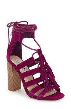 that color! /// Steve Madden 'Tasssal' Lace-Up Sandal (Women) available at Lace Up High Heels, Lace Up Sandals, Purple Shoes, Purple Suede, Walk In My Shoes, Me Too Shoes, Trendy Shoes, Casual Shoes, Ankle Boots