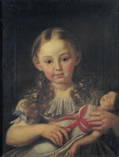 Girl with a doll by Anonymous German painter circa 1800
