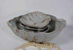 Large Decorative wooden bowl plus 3 smaller bowls / by NEWaged, $32.00