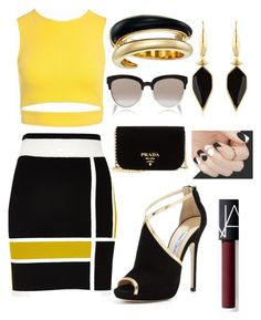 """""""Untitled #276"""" by norhenbijaoiu ❤ liked on Polyvore featuring Sans Souci, River Island, Jimmy Choo, Prada, Christian Dior, Isabel Marant, Michael Kors and NARS Cosmetics"""