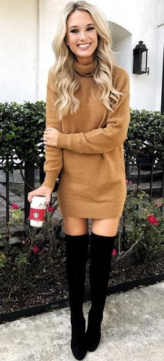 #winter #outfits brown knit long-sleeve dress