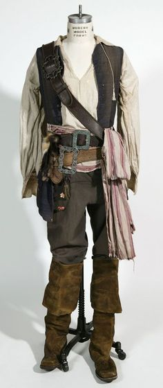 Pirate outfit. Suede vest, leather belts. This look can be seen in Act 3, scene 1 during the fight.