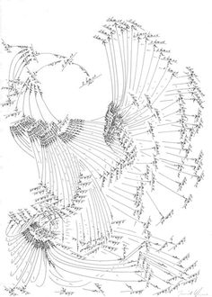 Jorinde Voigt creates drawings using a series of algorithms that enable her to methodically fill paper with sweeping arcs, arrows and lines. Drawing Now, Create Drawing, Abstract Drawings, Art Drawings, Jorinde Voigt, Mind Map Art, Graphic Score, Music Visualization, Architecture Concept Drawings
