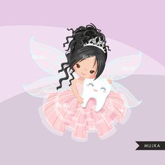 Tooth Fairy clipart. Cute fairy character graphics angel