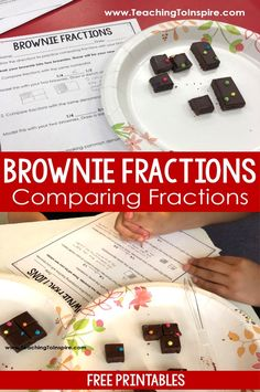 Comparing Fractions Activity with Brownies - Teaching with Jennifer Findley Comparing Fractions, Teaching Fractions, Fractions Worksheets, Teaching Math, Dividing Fractions, Maths, Teaching Ideas, Multiplying Fractions, Equivalent Fractions