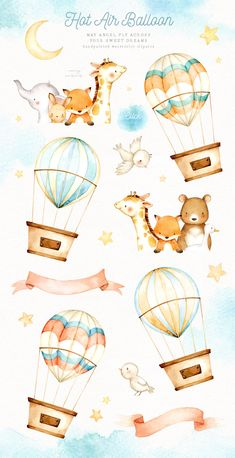 ad: Hot Air Balloon Watercolor Clipart by everysunsun on Watercolor Clipart, Watercolor Animals, Elephant Watercolor, Kids Watercolor, Ballon Illustration, Cute Illustration, Watercolor Illustration Children, Nursery Art