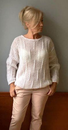 9dcb2b9c1cc75 White knit sweater by JPalKnits Women loose sweater Wool knit pullover  Oversized women sweater Chunky knit