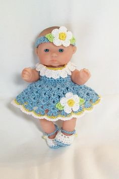 Berenguer itty bitty Lots to Love Reborn Doll Clothes Clothing - 5 inch Berenguer Doll Daisy Flower Dress Shoes Panties. Crocheted outfit ready to buy.