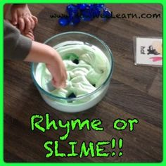 Rhyming Games: Rhyme or SLIME - a silly, easy, and fun way to practice rhymes! Add chime to ring bell if rhyme to make it exciting either way. Rhyming Word Game, Rhyming Activities, Kids Learning Activities, Kindergarten Literacy, Alphabet Activities, Early Literacy, Word Games, Teaching Ideas, Nursery Activities
