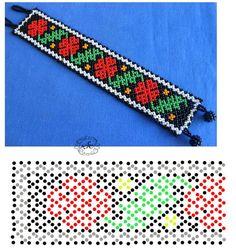 Natali Khovalko Diy Necklace Patterns, Bead Loom Patterns, Beaded Jewelry Patterns, Peyote Patterns, Beading Patterns, Seed Bead Jewelry, Bead Jewellery, African Beads Necklace, Bead Loom Bracelets