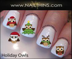 french orange pink designs red designs nail design nails Holiday Owls Nail Decal Christmas Owls Tree Santa Nails by NAILTHINS Deer Nails, Owl Nails, Coffin Nails, Acrylic Nails, Penguin Nails, Minion Nails, Holiday Nail Art, Halloween Nail Art, Nail Decals