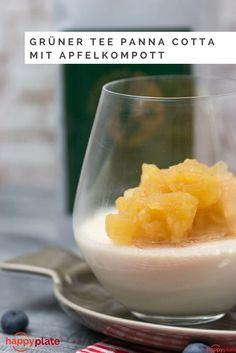 Grüner Tee Panna Cotta mit asiatisch angehauchtem Apfelkompott