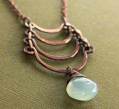 Egyptian copper necklace with cascade and light by IngoDesign, $32.00