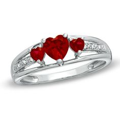 Heart-Shaped Lab-Created Ruby Three Stone and Diamond Accent Ring in Sterling Silver
