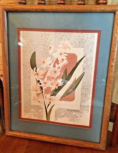 Framed & Matted Reproduction Print - Floral Embossed Pink Blue - Harry Wysocki  | eBay
