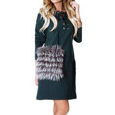 08a9fafeae1 Fashion 2017 Autumn Women Dress Sexy Long Sleeve Lace Up Mini Dress  Patchwork Wool Pockets Dress Casual Vestidos Plus Size