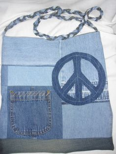 Recycled Blue Jean Peace Bag by jeanoligy on Etsy, $18.90