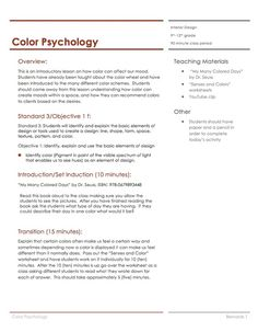 Color Psychology Lesson Plan House Interior DesignInterior