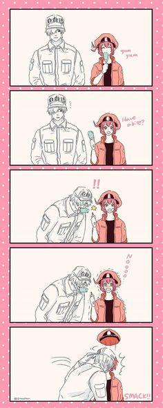 How to share food Manga Anime, Anime Kiss, Fanarts Anime, Anime Art, Blood Anime, Cute Anime Coupes, Manga Cute, White Blood Cells, Happy Tree Friends