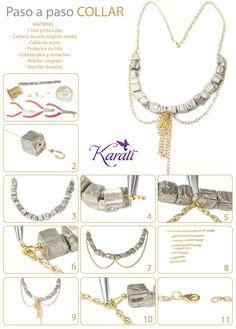 Idea Karati para que lo hagas tú misma: Collar con #pirita y cadena. #DIY #pasoapasokarati #manualidades