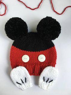 Mickey Mouse baby beanie  newborn mittens  baby hat  baby