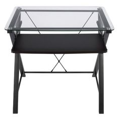 Every time you sit down to work, youll enjoy the stylish functionality of the Omega computer desk from Z-Line. The desk has a design that blends practical simplicity with contemporary style. The frame is constructed from durable metal and features a pull-out keyboard tray. The tempered glass top adds both a decorative accent and a smooth, sturdy work surface.