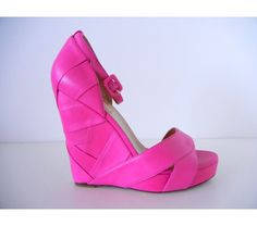 Valentino Pink Leather Wedge Shoe 9.5