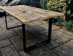 Reclaimed Wooden Scaffolding Board Dining Table / Garden Table with Industrial Steel Legs Reclaimed