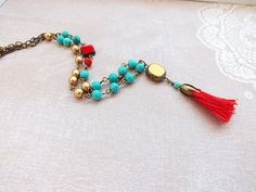 Long tassel necklace Long Beaded necklace Turquoise by HOBIHOLIK