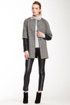 Bebe Contrast Sleeve Cape Coat on HauteLook