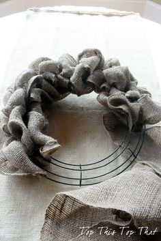 The Easiest Burlap Wreath You will ever make! took 12 yards burlap ribbon (10 on a roll at craft stores)