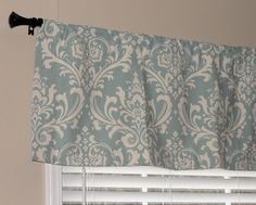 "Premier Prints Village Blue and Natural Damask Valance 50"" wide x 16"" long Lined with Cotton Muslin"