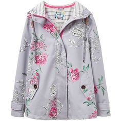Joules Right as Rain Coast Floral Print Waterproof Jacket, Cool Grey... (8.645 RUB) ❤ liked on Polyvore featuring outerwear, jackets, long sleeve jacket, short jacket, grey jacket, jersey jacket and lined jacket