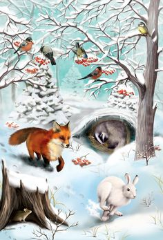 "Illustrations for the russian publishing house ""Azbookvaric"" to the children encyclopedia ""Seasons of the year in the forest"".It is not big book: 5 landscape-pictures of the forest in different seasons of the year and differenrt time of a dayand 5 pictu… Winter Scenery, Seasons Of The Year, Fox Art, Landscape Pictures, Woodland Creatures, Forest Animals, Wildlife Art, Illustrators, Activities For Kids"