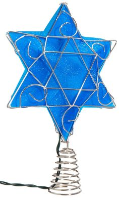 Kurt Adler UL 10-Light LED Silver and Blue Hanukkah Star Shimmer Treetop. Hanukkah star treetop. Pre-lit by 10 lights. Blue and silver plastic design. Beautifully detailed. Perfect for interfaith families.
