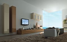 beige-and-brown-gloosy-modern-wall-units-brown-shag-rug-book-shelves-wall-mount-television-modern-cabinets-wall-units-white-coffee-table-modern-white-wall-paint-glass-windows