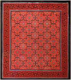 Early 18th Century Antique Chinese Geometric Rug | From a unique collection of antique and modern chinese and east asian rugs at https://www.1stdibs.com/furniture/rugs-carpets/chinese-rugs/