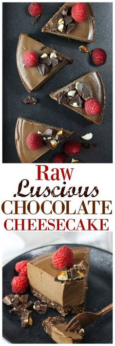 To die for velvety smooth raw chocolate cheesecake. Just 8 ingredients, dairy-free and a gluten-free chocolate crust. So rich and delicious!