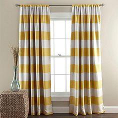 Lush Décor Stripe Room Darkening 84-Inch Rod Pocket Window Curtain Panel Pair in Yellow